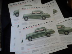 "16 original Mercedes-Benz brochures (2 sided), the impressive ""Type"" 180, also with diesel power, approx. 30 cm x 21 cm"