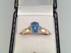 Large yellow gold ring with blue topaz and diamond, ring size 18/56