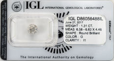 1.31 ct brilliant cut diamond  G  I1