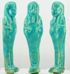 NIce blue Egyptian faience Shabti - ca. 11,2 cm - c. 4,40 inches