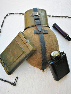 Wehrmacht small lot - Soldier's name marked Canteen, Bakelite ZEILER flashlight & 98k Cleaning kit marked