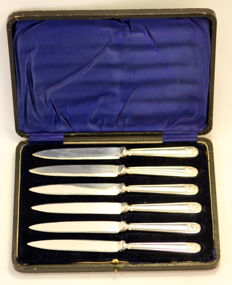 Sterling silver set of six knives, John Biggin, Sheffield 1913