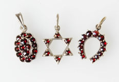 2 silver pendants with garnets, gold-plated - manufacturer's mark