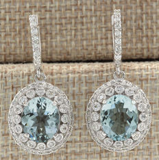 Certified 7.34 Carat Natural Aquamarine and Diamond Earrings In 14K Solid White Gold *** FREE SHIPPING *** NO RESERVE ***