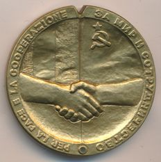 USSR/Italy - Bronze Medal by L. Vivarelli (obverse) and Baklanov (reverse) Summit Italy-USSR, 1989