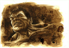 Juan Antonio Abad (Juapi), - Original Coffee Drawing - Hulk