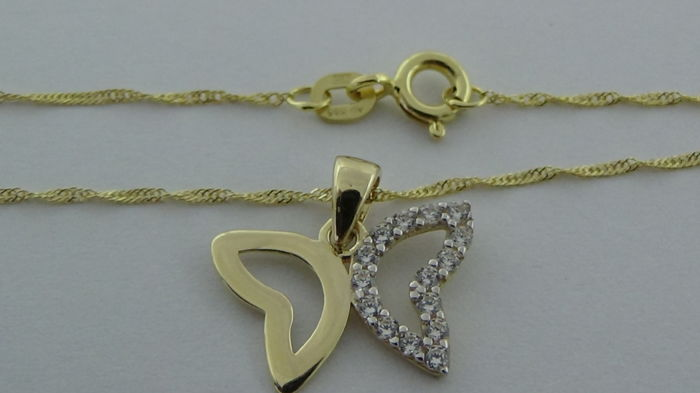 14 kt gold Singapore necklace with pendant (butterfly)