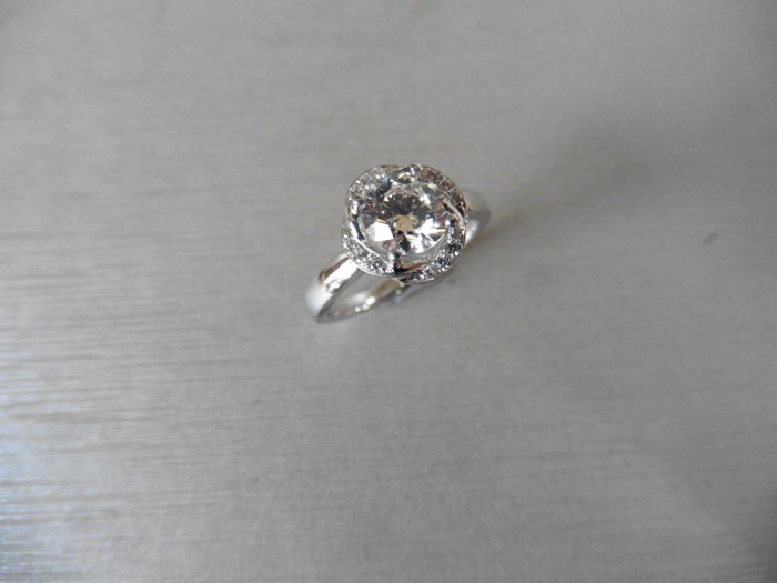 Platinum Diamond Set Solitaire Ring - 0.50ct / 0.06ct - size 52