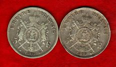 France - 5 Francs 1867 A and 1869 BB (set of 2 coins) - Napoleon III - Silver.