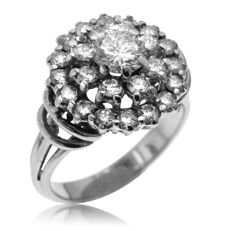 1.63ct Diamond Dress Ring with large central diamond, as new.