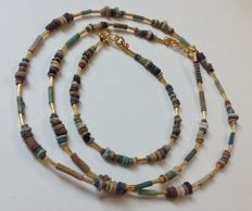 Necklace with Egyptian faïence-beads - approx. 62 cm - with matching bracelet