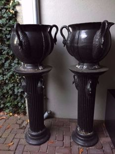 Two beautiful garden vases on columns, cast-iron, ca. 1960