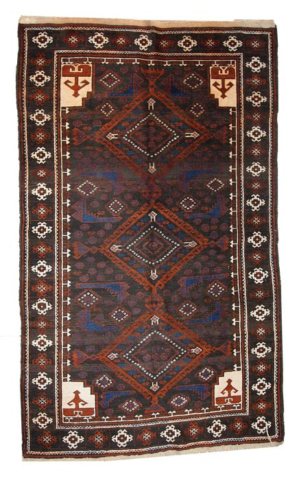 Hand made vintage Afghan Baluch rug 3.7' x 6.1' ( 117cm x 187cm ) 1940s