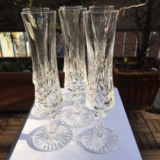 6 champagne flutes in crystal