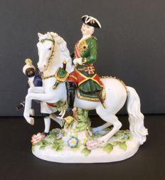 Porcelain Volkstedt ?, 19th century. Empress Elizabeth Petrovna on horseback with pageboy.