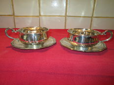 Two silver cups and saucers, brothers Kuhn, Schwabisch Gmund, Germany