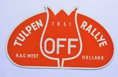 An original old Tulpen Rallye badge made of aluminium