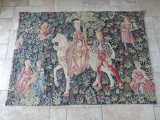 "Point de L'halluin: a machine woven tapestry after the 16th century example: ""' L'Amour courtois"", Belgium, 20th century"