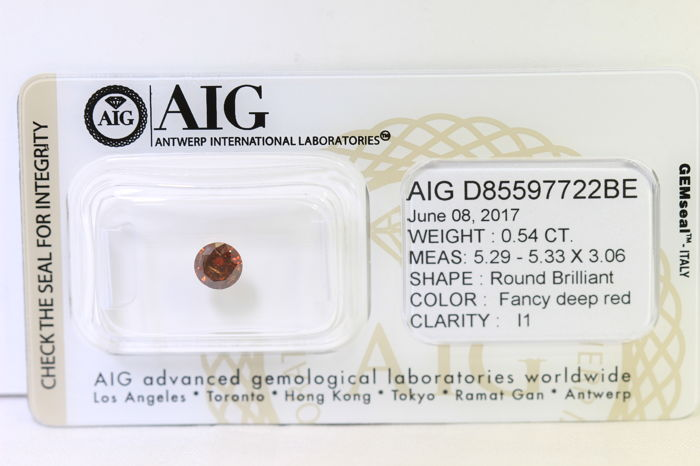 Red Diamond - 0.54 ct - I1 - (Treated for Colour) - No Reserve Price