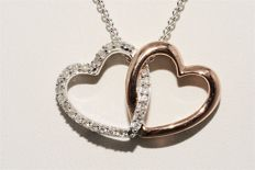 925 Silver double heart necklace with diamonds, 0.22 ct, 45.5 cm