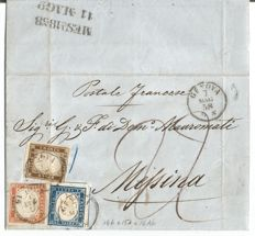 Sardinia IV:  1858, 10 + 20 + 40 Cent, on a letter from Genoa to Messina