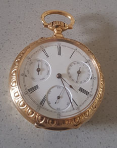 5. Splendid calender gold pocket watch - enamel - dated 1884 - Switzerland