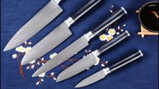 5-pc Damascus kitchen knife set in Pakka wood handle.
