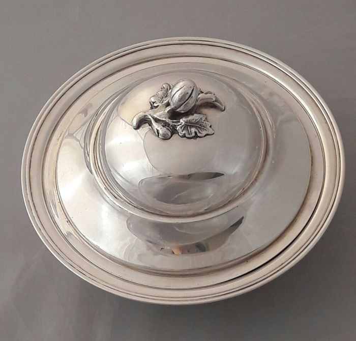Silver serving tray with cover, 1st half 20th century