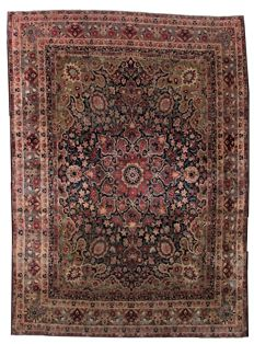 Hand made antique Persian Kerman Lavar rug 8.1' x 11.1' ( 247cm x 338cm ), end 19th century