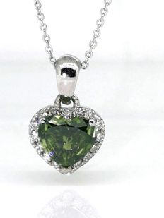 14 kt White gold pendant with heart-shaped fancy intense olive green  diamond of 0.60 8f09cecff21