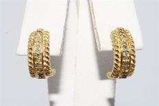 "14 kt Gold half hoop earrings with diamonds, 0.24 ct, approx. 1 cm ""No reserve"""