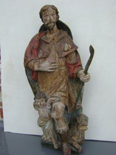Wooden sculpture of Saint Rochus - Flanders - 17th/18th century