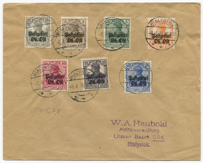 Occupied Poland 1914-1918 – Russian-Poland, Generalgouvernement Warschau, postal area Ob Ost and Allenstein 1-14