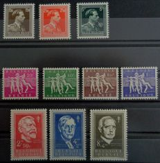 Belgium 1955-56 – Series 'Antituberculosis' + 'Leopold III Col Open' – COB No. 979 to 985 + 1005-1007 included –