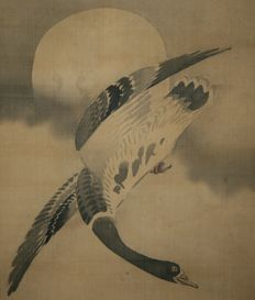 """Scroll painting signed Tani Buncho 谷 文晁 """"wild goose and full moon"""" - Japan - late 18th century"""