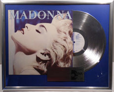"""Madonna - True Blue - 12"""" German SIRE platinum plated record with cover by WWA Awards"""