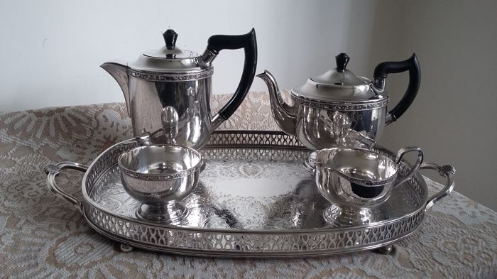 viners of sheffield mint condition a1 silver plated tea service+tray epb made in england & viners of sheffield mint condition a1 silver plated tea service+tray ...