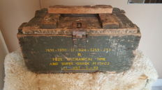 Authentic vintage army box, made of wood with imprint, second half of 20th century