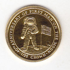 "Isle of Man – 1/25 Crown 2009 ""40th Anniversary of First Man on the Moon"" – 1/25 oz gold"
