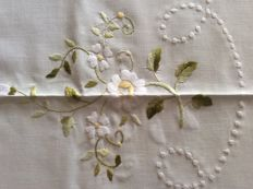 Hand embroidered linen blend tablecloth