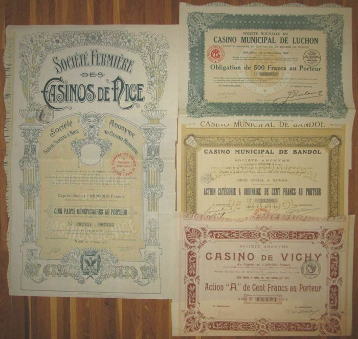 France - Casinos - Casinos de Nice (Nizza) + Vichy + Bandol + Luchon - DECO Bonds and Shares - Lot of 4 different