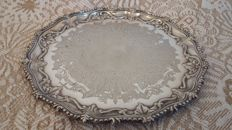 salver  silver plated foliage decoration tray . made in england.