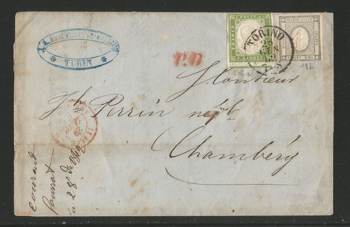 sardinia iv: 2 letters with 5 cent + giorn. 1 cent & mixed postage