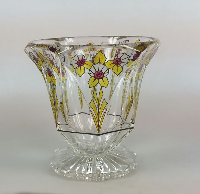 Art Deco cut glass vase with enamel decoration