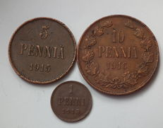 Russia for Finland - Set of 3 coins (1, 5, 10 Penni) 1913-1916