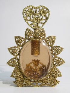 Entirely hand crafted reliquary in gilt bronze and cut glass - Italy, early 20th century