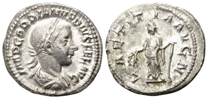 Roman Empire - GORDIAN III (238-244 AD), AR Denarius (Laetitia) - 20mm; 3.54g