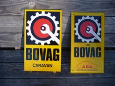 Enamel Bovag Caravan and plastic Bovag ABA sign, from the end of the last century.