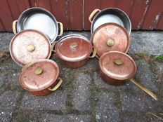 Lot of 5 copper pans SIGG Switzerland