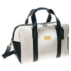 Möet et Chandon Weekend bag of white canvas and black leather